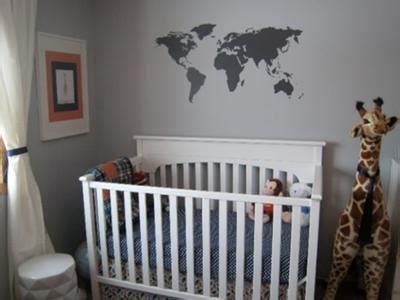 Cool Nursery Decor Masculine Educational World Map Geography Baby Boy Nursery Wall Gray White Stencil Pattern