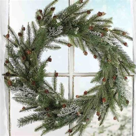 frosted artificial pine wreath wreaths floral supplies