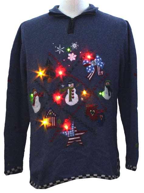 lightup ugly christmas sweater studio unisex blue