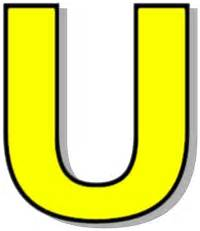 Capitol U Yellow  /signs Symbol/alphabets Numbers/outlined Alphabet