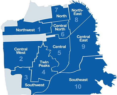 san francisco map by district neighborhood zip code district community