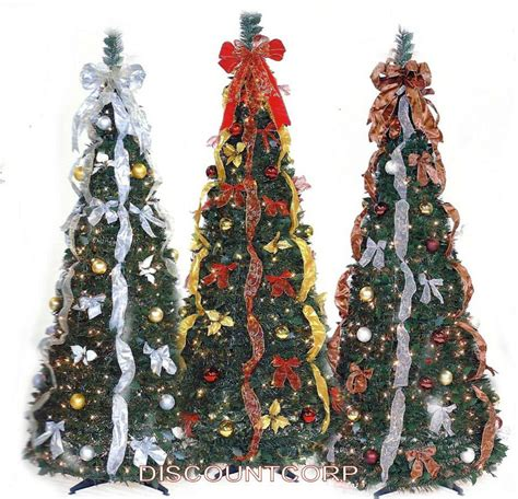 pre decorated collapsible christmas trees 6 ft decorated pre lit collapsible pop up tree 350 lights ebay