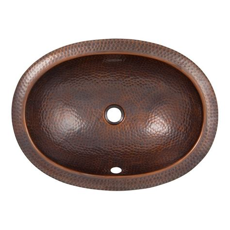 Copper Undermount Bathroom Sink Shop The Copper Factory Artisan Antique Copper Undermount Oval Bathroom Sink With Overflow At