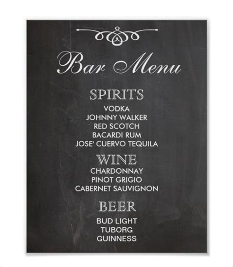 drink menu template free 24 bar menu templates free sle exle format