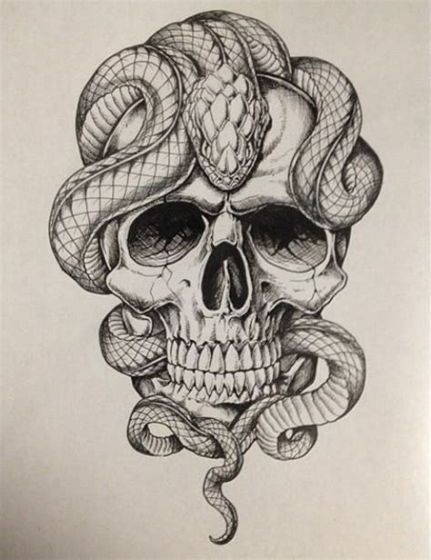 skull with snakes ideas pinterest snake tattoo and