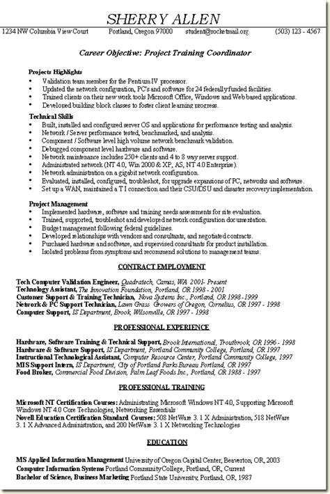 Facility Manager Job Description Resume by Skill Based Resume Sample Project Training Coordinator