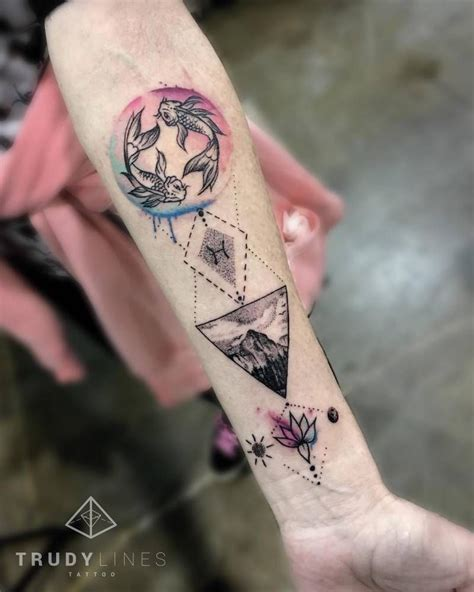graphic tattoos pisces inspired graphic on the left inner forearm