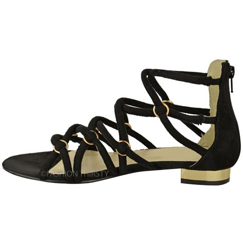gladiator strappy flat sandals womens flat strappy sandals ankle high caged