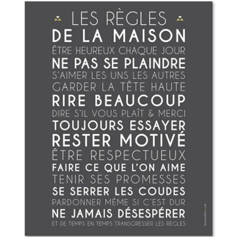 Affiche Les Regles De La Maison 2923 by Affiche 224 Encadrer Les R 232 Gles De La Maison Ardoise 40 X