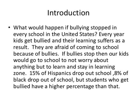 thesis about verbal bullying essay about bullying introduction