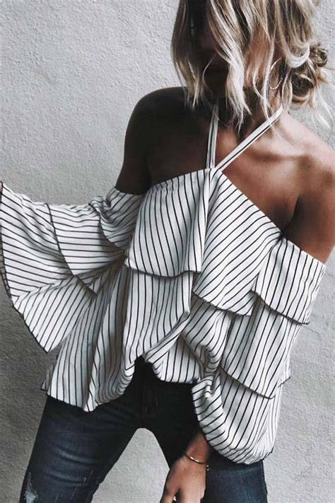 black white halter backless stripe black white halter backless stripe print ruffled top