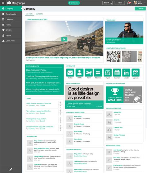 company intranet template custom intranet design sles and service mangoapps