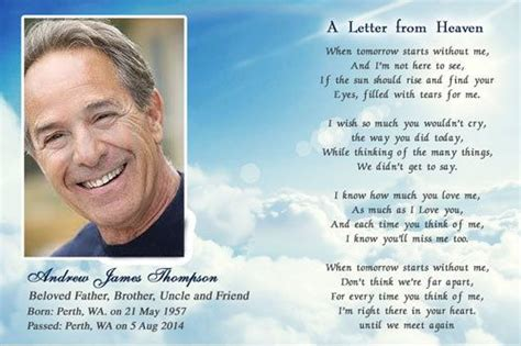 Funeral Remembrance Cards Template by Funeral Cards Letter From Heaven Letter From Heaven