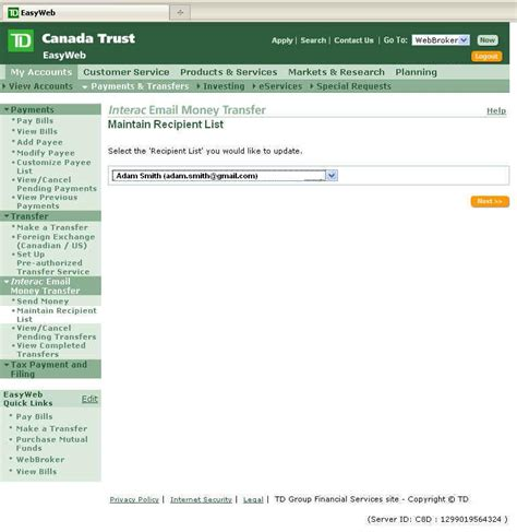 td bank mailing address next you will need to define add a recipient for the money