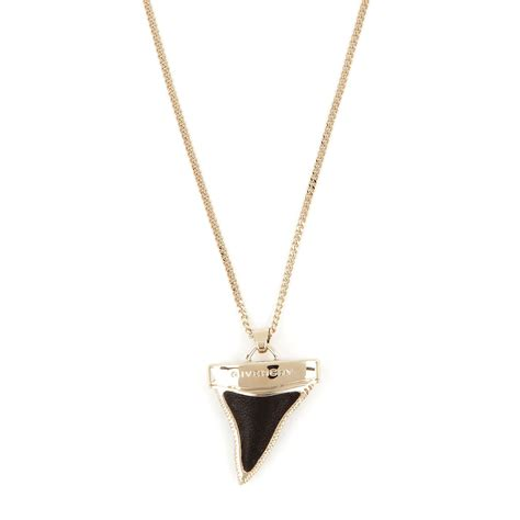 givenchy shark tooth pendant necklace in gold black lyst