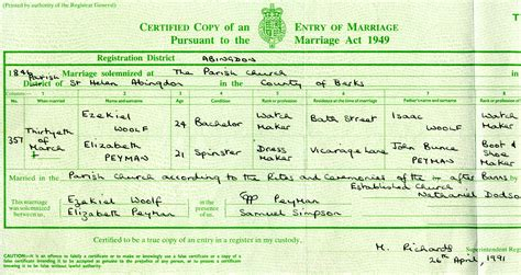 Plymouth Marriage Records Woolf Family