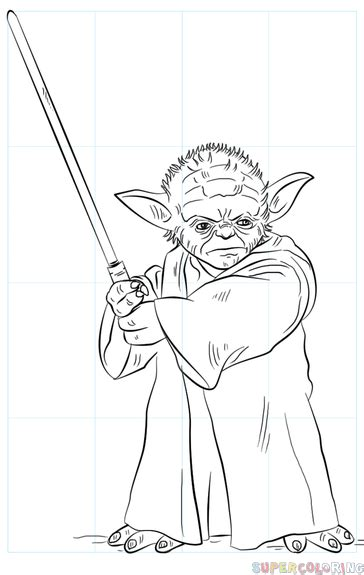 Drawing Yoda by How To Draw Yoda With Lightsaber Step By Step Drawing