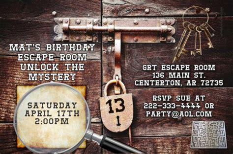 printable escape room kit free escape room party birthday invitations design online