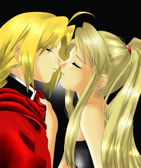 fullmetal alchemist brotherhood edward and winry kiss ed and winry about to kiss by barbypornea on deviantart