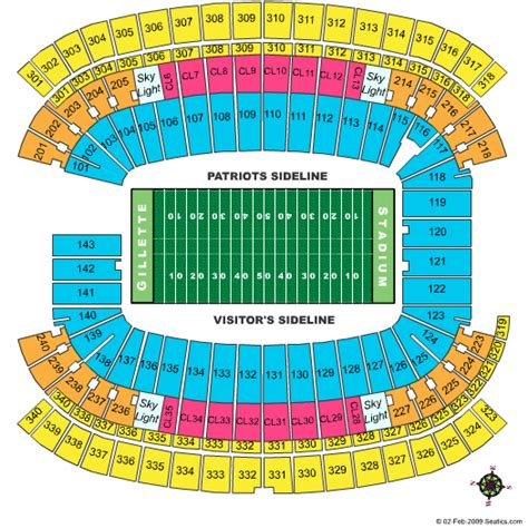 Gillette Stadium Box Office by Gillette Stadium Seating Chart Football