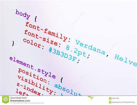 css layout source code css source code closeup diagonal view stock photos image