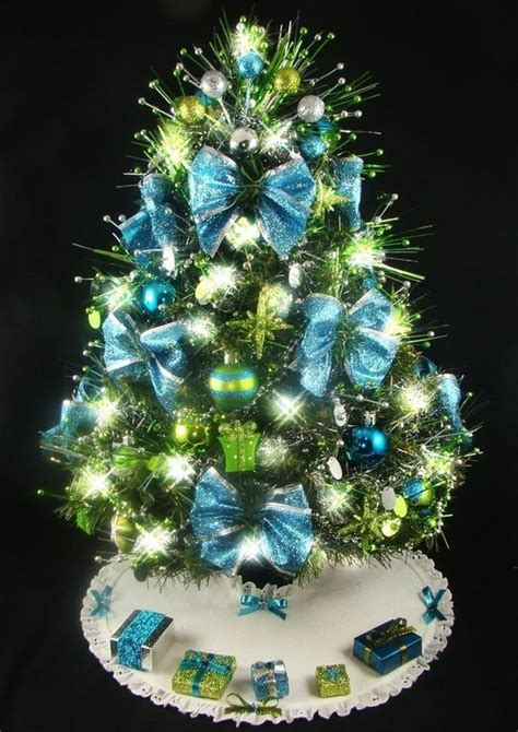 christmas trees tourquoise and silver mini tabletop tree turquoise chartreuse