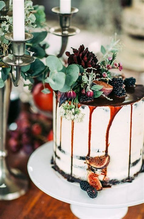 27 Naked Fall Wedding Cakes That Will Make Your Mouth