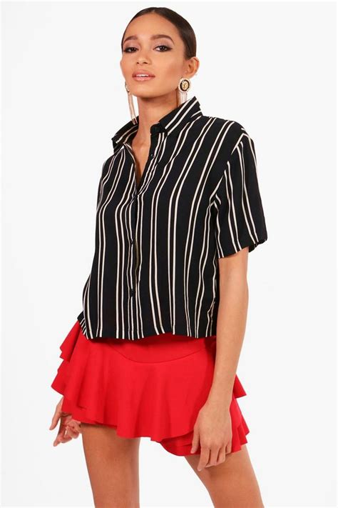 Boxy Shirt by Striped Sleeve Boxy Shirt Boohoo