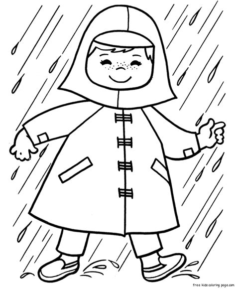 preschool coloring pages rain print out spring girl playing in rain coloring pages for