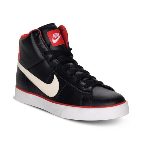 nike sweet classic leather high top sneakers in black for