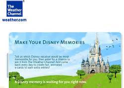 Weather Channel Giveaway - win a free disney world vacation from the weather channel
