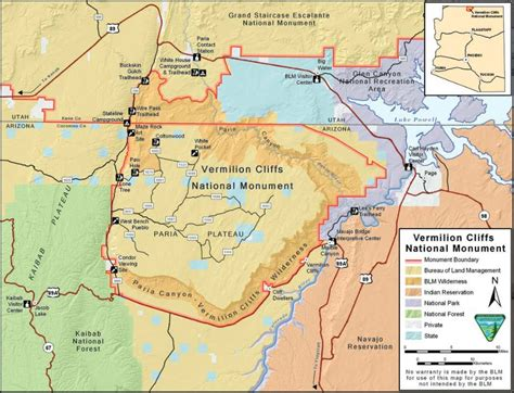arizona national monuments map how to get to vermilion cliffs national monument map