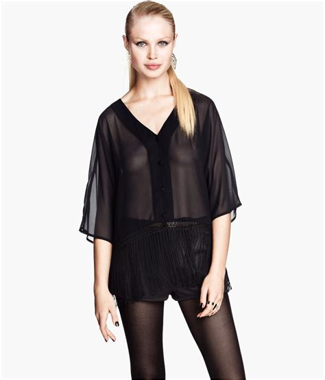 Blouse Chiffon chiffon blouse black clothing