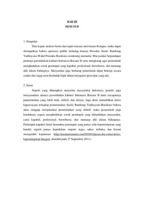 Analisis Kinerja analisis kinerja presiden susilo bambang yudhoyono berdasarkan berita