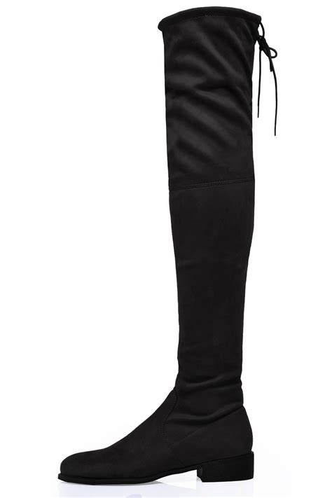 flat the knee boots in black suede