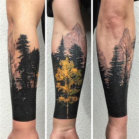 forest sleeve tattoos yellow and black tree sleeve ideas