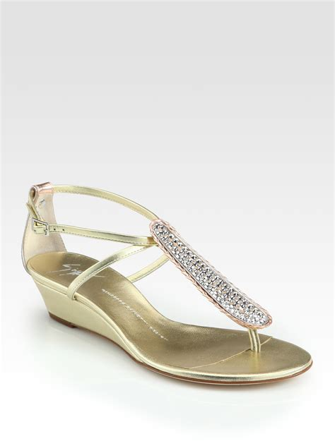 golden sandals giuseppe zanotti crystalcoated metallic leather wedge