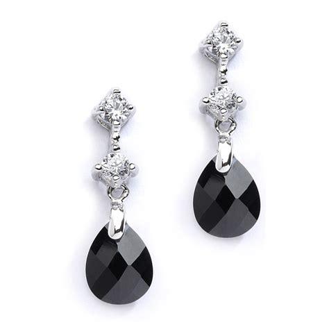 wedding earrings bridesmaids jet black bridal or