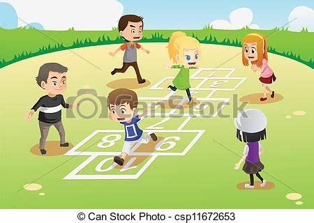 dibujos de niños jugando rayuela clipart vectorial de ni 241 os juego rayuela un vector