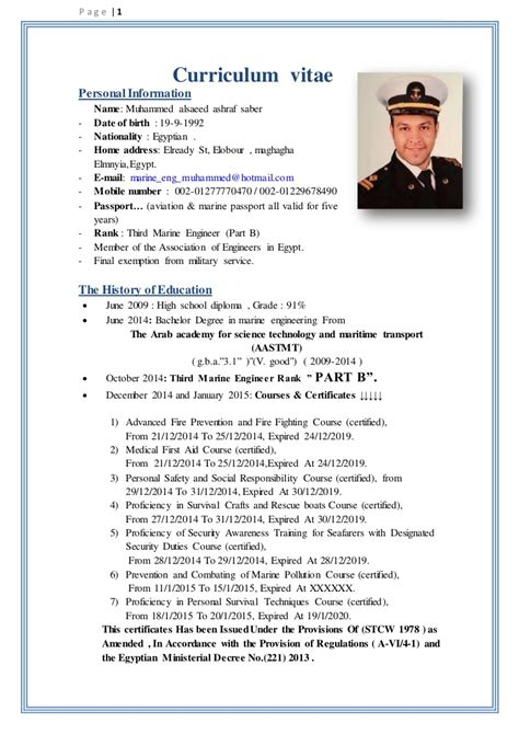 marine chief engineer resume sle sle resume for marine engineer fresh graduate