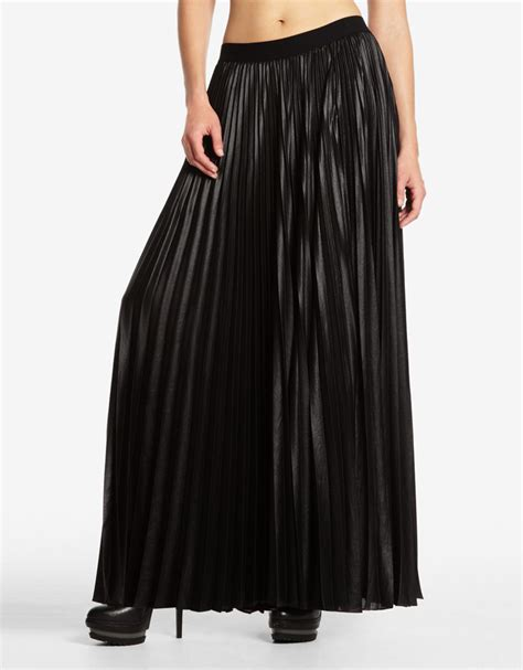 bcbgmaxazria dallin sunburst pleated maxi skirt in black