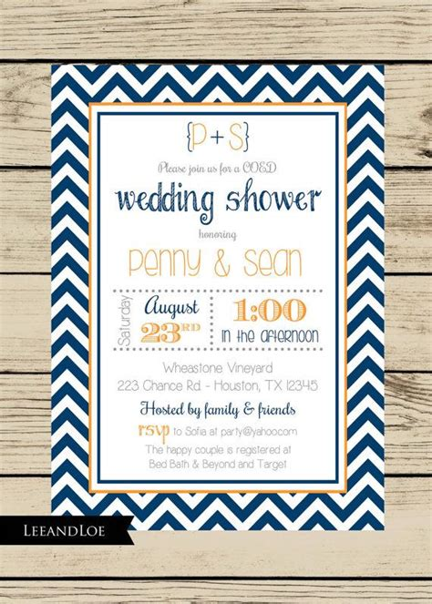 Coed Bridal Shower by Chevron Wedding Shower Invitation Couples Coed Bridal