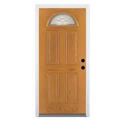 Therma Tru Exterior Doors Fiberglass Shop Therma Tru Benchmark Doors Fan Lite Decorative Medium Oak Prehung Inswing Fiberglass Entry