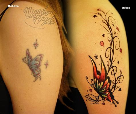 Lyrics Tattoo Cover Up | butterfly and pattern cover up tattoo music notes