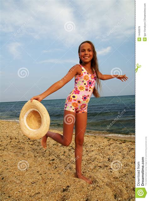 Preteen Beach | preteen girl on sea beach royalty free stock images