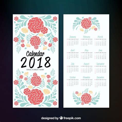 floral 2018 calendar vector free
