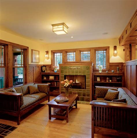 craftsman style homes interiors fireplace on