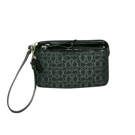 Coach Wristlet 2zip Black coach poppy multi signature metallic zip wristlet black 50549 coach 50549