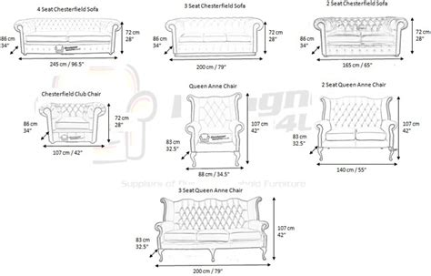 couch width chesterfield furniture measurements designersofas4u