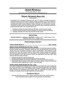 exle travel services analyst resume free sle